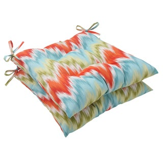 Pillow Perfect Opal Outdoor Flamestitch Tufted Seat Cushion (Set of 2)
