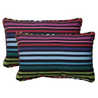 Pillow Perfect Black Outdoor Godivan Corded Rectangular Throw Pillow (Set of 2)
