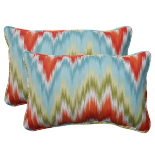 Pillow Perfect Opal Outdoor Flamestitch Corded Rectangular Throw Pillow (Set of 2)