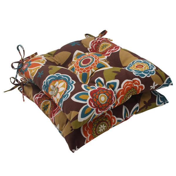 Pillow Perfect chocolate Tufted Seat Cushions (Set of 2)