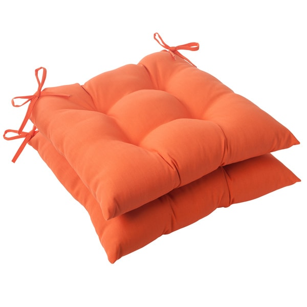 Pillow Perfect Orange Outdoor Seat Cushions 2