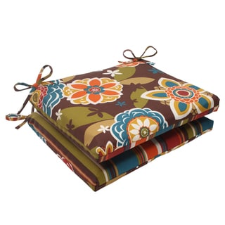 Pillow Perfect Annie Polyester Chocolate Squared Outdoor Seat Cushions (Set of 2)