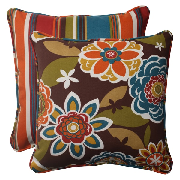 Outdoor Decorative Pillow Sets : Pillow Perfect Outdoor Annie Square Throw Pillows (Set of 2) - 15210954 - Overstock.com Shopping ...