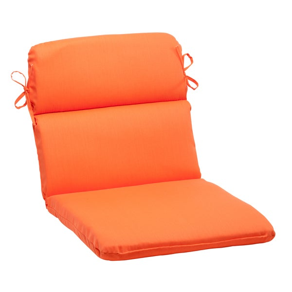 Pillow Perfect Outdoor Sundeck Rounded Chair Cushion in Orange