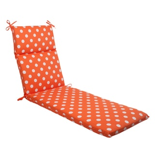 Pillow Perfect Orange Polka Dot Indoor/ Outdoor Chaise Lounge Cushion