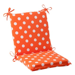 Pillow Perfect Orange Polka Dot Squared Indoor/ Outdoor Chair Cushion