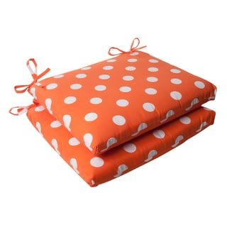 Pillow Perfect Orange Polka Dot Indoor/ Outdoor Seat Cushions (Set of 2)