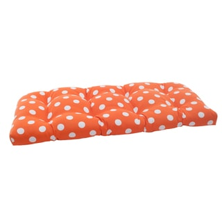 Pillow Perfect Polyester Orange Polka-Dot Indoor/Outdoor Loveseat Cushion