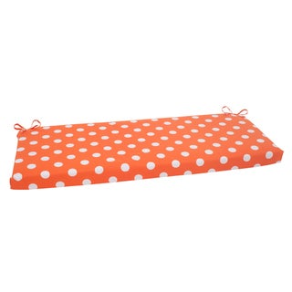 Pillow Perfect Orange Polka Dot Indoor/ Outdoor Bench Cushion