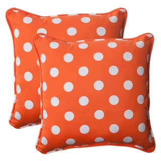 Pillow Perfect Orange Polka Dot Square Throw Pillows (Set of 2)