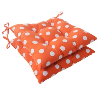 Pillow Perfect Orange Polka Dot Indoor/ Outdoor Tufted Seat Cushions (Set of 2)