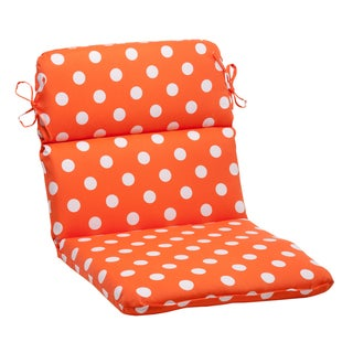 Pillow Perfect Orange Polka Dot Indoor/ Outdoor Rounded Chair Cushion