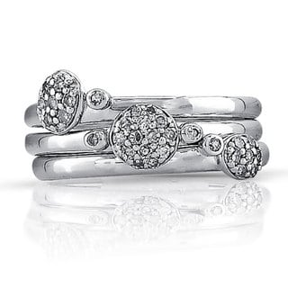 Sterling Silver 1/4ct TDW Stackable Diamond Band Set (J-K, I2-I3)