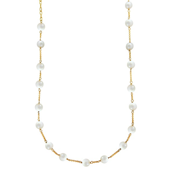14k Yellow Gold Plated Sterling Silver Freshwater White Pearl Necklace (8-8.5 mm)