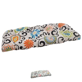 Waverly Sun-n-Shade Pom Pom Play Lagoon Wicker Loveseat Cushion