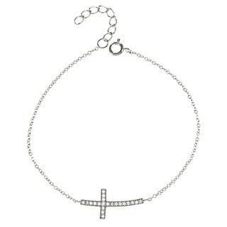 La Preciosa Sterling Silver Cubic Zirconia Curved Sideways Cross Bracelet