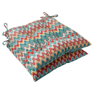 Pillow Perfect Outdoor Blue Nivala Wicker Seat Cushions (Set of 2)