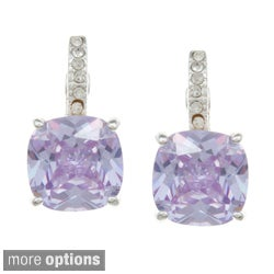 City Style Goldtone or Silvertone Champagne or Purple Crystal Earrings
