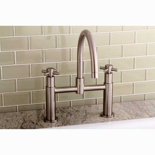 Modern Bridge Satin Nickel Kitchen Faucet