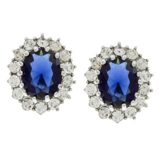City Style Silvertone Montana Glass and Cubic Zirconia Earrings