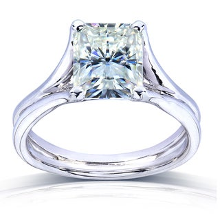 Annello 14k White Gold Radiant-cut Moissanite Solitaire Split Shank Ring
