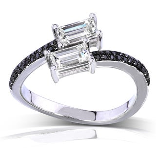 Annello 14k White Gold 7/8ct TDW Black and White Diamond Band (H-I, VS1-VS2)