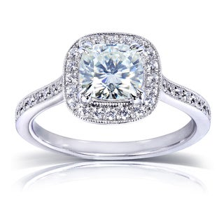 Annello 14k White Gold Prong-set Moissanite and 1/4ct TDW Diamond Miligrain Engagement Ring (G-H, I1-I2)