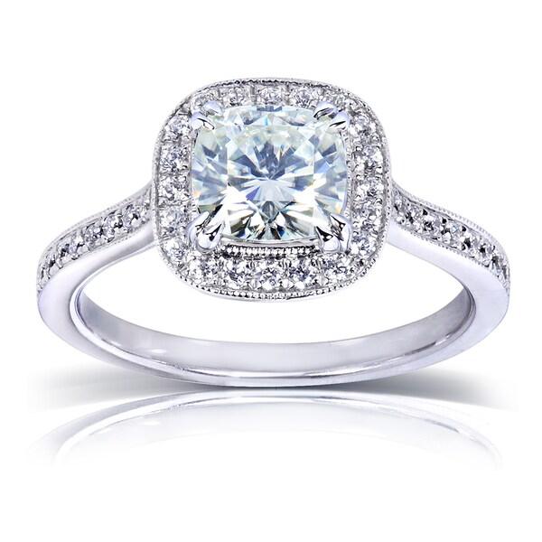 Annello 14k White Gold Moissanite and 1/4ct TDW Diamond Halo Engagement Ring (G-H, I1-I2)