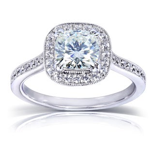 Annello 14k White Gold Moissanite and 1/4ct TDW Diamond Halo Engagement Ring (G-H, I1-I2)