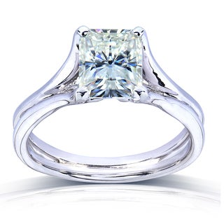 Annello 14k Gold Radiant-cut Moissanite Solitaire Split Shank Ring