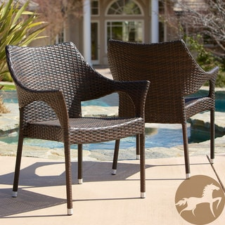 Christopher Knight Home Cliff Outdoor Wicker Chairs (Set of 2)