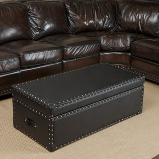 Christopher Knight Home Nino Leather Storage Trunk Ottoman