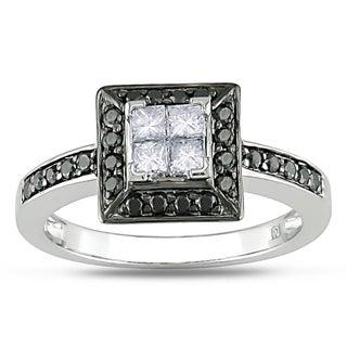 Miadora 10k White Gold 1/2ct TDW Black and White Diamond Ring (H-I, I2-I3)