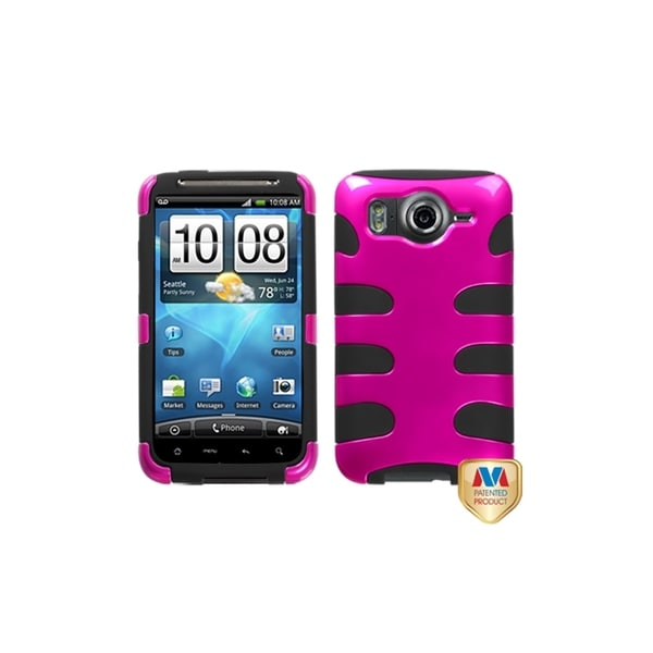INSTEN Metallic Hot Pink/ Black Fishbone Case Cover for HTC Inspire 4G