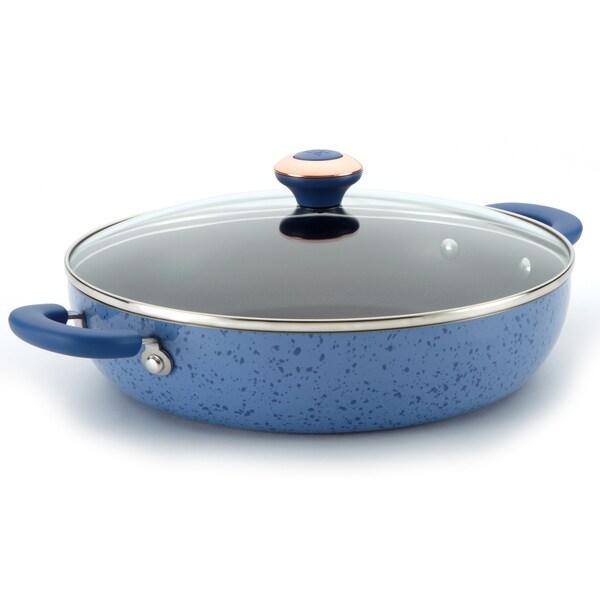 Paula Deen Signature Porcelain Blueberry 12-inch Covered Chicken Fryer