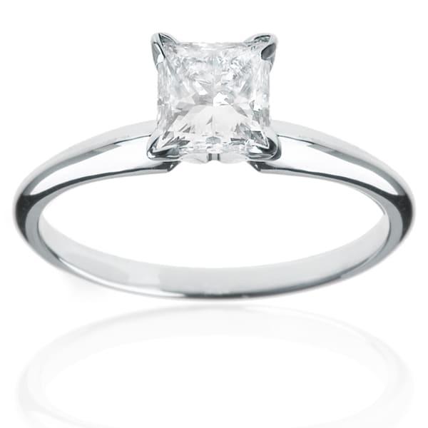 Platinum 1ct TDW Princess-cut Diamond Solitaire Ring (H-I, I1)