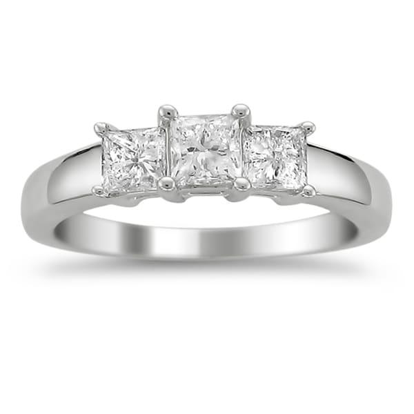 Montebello Platinum 1ct TDW Princess-cut Diamond 3-stone Ring (G-H, VS1-VS2)