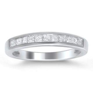 Platinum 1/2ct TDW Princess-cut Diamond Channel Wedding Band (H-I, I1-I2)