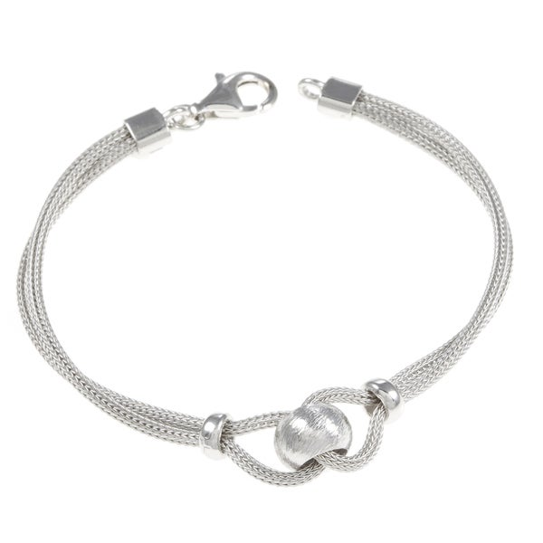 La Preciosa Sterling Silver Mesh and Bead Bracelet