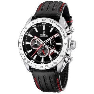 Festina Men's Sport Black Calf Skin Strap Watch