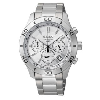 SEIKO Men's Chronograph Silver Dial Stainless Steel Watch
