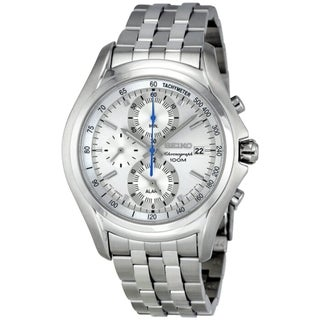 SEIKO Men's Chronograph Silver Dial Blue Accent Watch