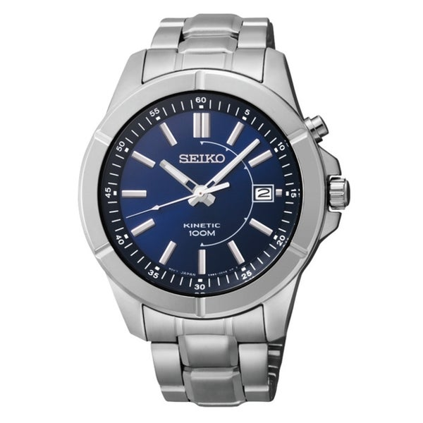 SEIKO Men's Kinetic Blue Dial Stainless Steel Watch