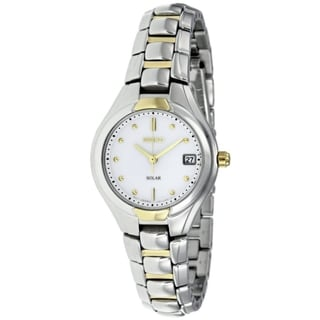 SEIKO Women's White Dial Gold Accent Watch