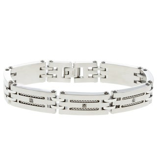 Stainless Steel Men's 1/10ct TDW Black Diamond Bracelet