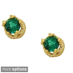 Tiara Collection Goldplated Silver Children's Gemstone Crown Earrings