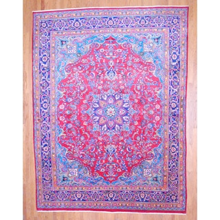 Persian Hand-knotted Mashad Red/ Navy Wool Rug (9'9 x 12'10)