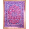 Persian Hand-knotted Mashad Red/ Navy Wool Rug (9'9 x 12'6)