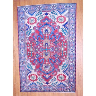 Persian Hand-knotted Tabriz Red/ Navy Wool Rug (8'11 x 13'3)