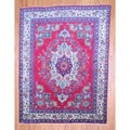 Persian Hand-knotted Tabriz Red/ Ivory Wool Rug (9'8 x 12'9)